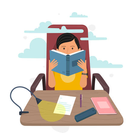 Young man reading book on chair at home. Flat style vector illustration.