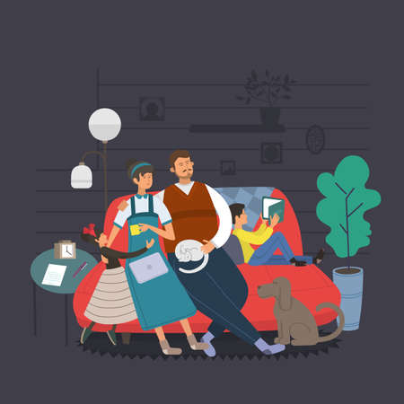 Happy family together. Mom, dad and kids sitting on the couch at home. Cartoon style, Flat Vector illustration.