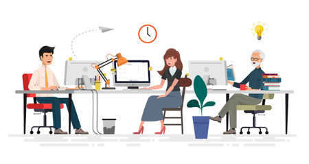 Creative People in Office Have Idea. Group of Men Working Together with Laptop. Successful Team in Coworking Space Developing Project. Partnership Cartoon Flat Vector Illustration. Horizontal Banner. Zdjęcie Seryjne - 121863929