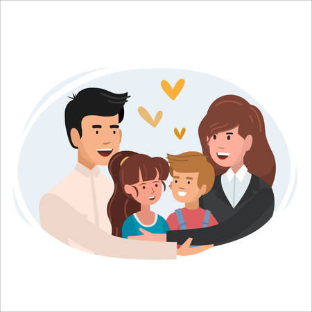 Mom and dad hugging their son. Happy parents and child in loving family. Cute cartoon characters vector illustration Ilustrace