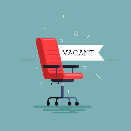 Empty office chair with vacant sign. Employment, vacancy and hiring job vector concept. Zdjęcie Seryjne - 121863947