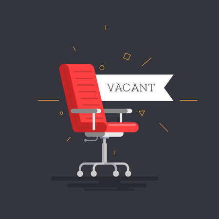 Empty office chair with vacant sign. Employment, vacancy and hiring job vector concept. Ilustrace