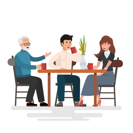 Three cheerful friends chatting while lunch in restaurant , vector illustration.