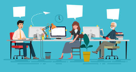 Creative People in Office Have Idea. Group of Men Working Together with Laptop. Successful Team in Coworking Space Developing Project. Partnership Cartoon Flat Vector Illustration. Horizontal Banner. Ilustrace