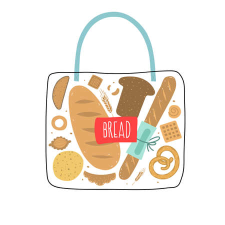 Bag of bread. Rye, whole grain and wheat bread, pretzel, muffin, pita , ciabatta, croissant, bagel, toast bread, french baguette for design menu bakery. Vector illustration.