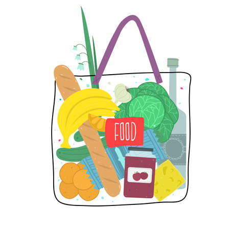 Vector illustration of shopping bag with groceries products. Vector illustration.