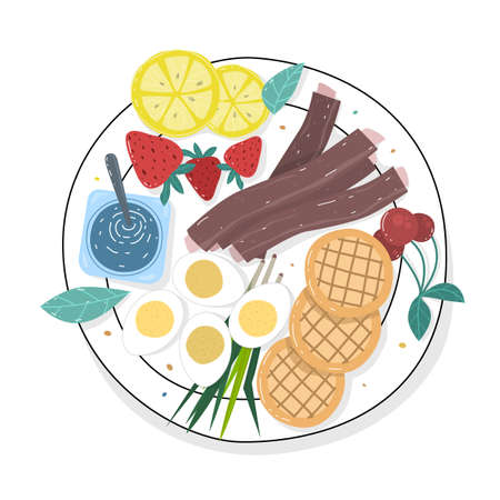 Sample food at each meal. Foods with health benefits. Advise of a balanced diet. Each type of food that the body should be in a day.