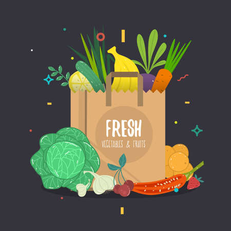 Vector cartoon style illustration of paper bag full of natural organic vegetables and fruits. Fresh from the farm text