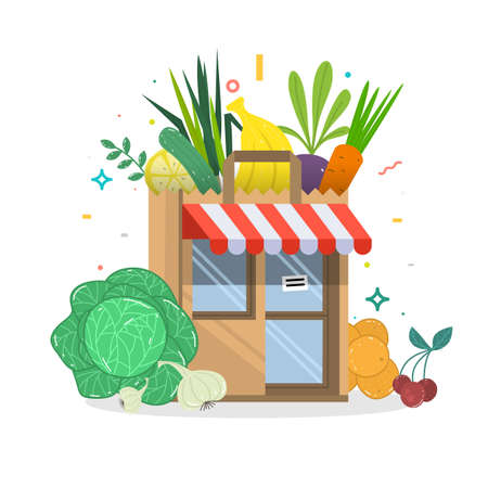 Local fruit and vegetables store building. Groceries crates in front of storefront. Flat isolated vector illustration.