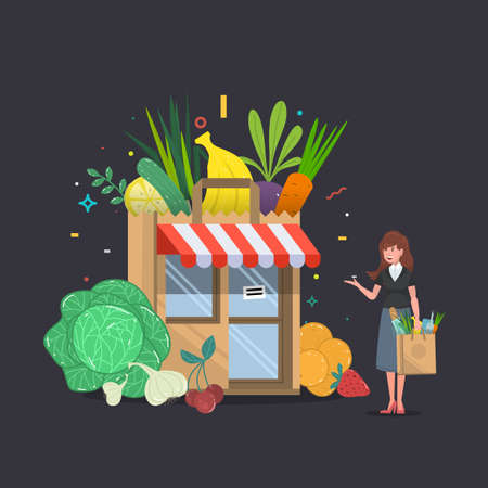 Local fruit and vegetables store building with with a woman. Groceries crates in front of storefront. Flat isolated vector illustration.