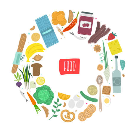 Paleo food circle concept. Healthy diet illustraion made in handdrawn rough style. Fish, eggs, vegetables, fruits, meat and seafood arranged in a circle.