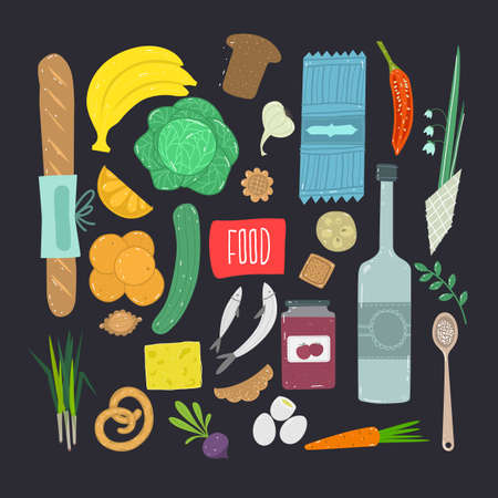 Food. Hand drawn set of healthy food ingredient  with lettering. Vector illustration.