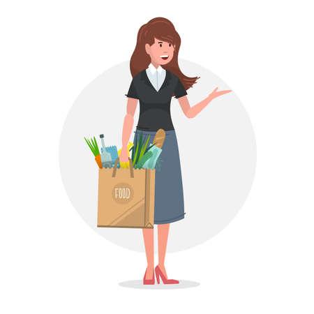 Junge Frau trägt eine Papiertüte voller Lebensmittel. Vektor-Illustration. Vektorgrafik