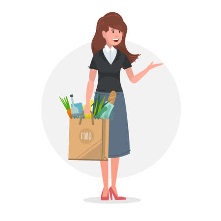 Young woman carrying a paper food bag full of groceries. Vector illustration.