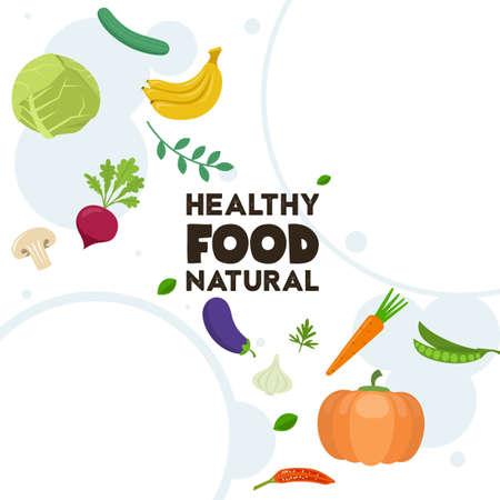 Healthy food illustration with fruits and vegetables. Vector illustration. Ilustracja