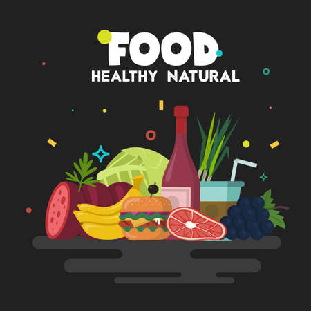 Health natural food. Simple illustrations for Nutrition.