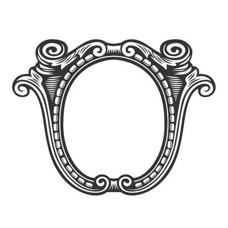 Vintage frame border label retro hand drawn engraving antique vector illustration. Vector illustration.