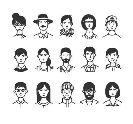Large collection of  cartoon characters or avatars with different hairstyles and accessories hand drawn with contour lines in one  color. Ilustracja