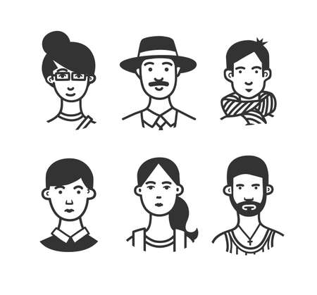 Set of  cartoon characters or avatars with different hairstyles and accessories hand drawn with contour lines in one  color. Monochrome vector illustration.