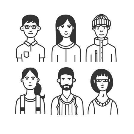 Large collection of  cartoon characters or avatars with different hairstyles and accessories hand drawn with contour lines in one  color. Monochrome vector illustration. Ilustracja
