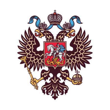 Escudo de armas ruso (águila bicéfala). Ilustración vectorial.