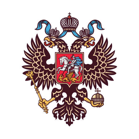 Russian coat of arms (double-headed eagle). Vector illustration.