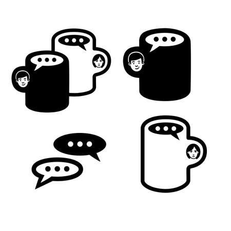 Coffee - vector illustration. Emblem set design white background.