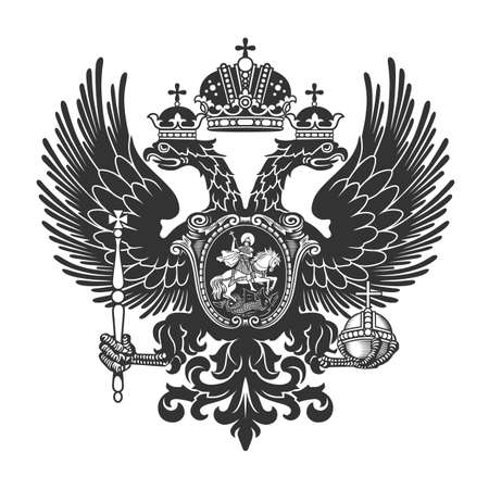 Coat of arms of the Russian Empire. Vector illustration. XIX century. Vector illustration. Ilustração