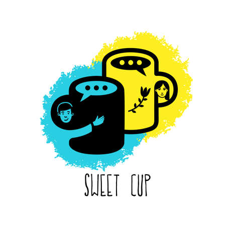 Sweet cup. Love concept. Love Coffee . Vector illustration.