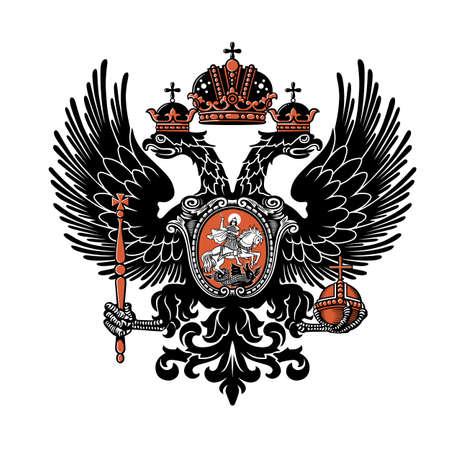Escudo de armas del Imperio Ruso. Ilustración de vector. Siglo XIX. Ilustración de vector.