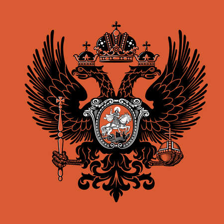 Colorful coat of arms of the Russian Empire. Vector illustration. XIX century. Vector illustration. 일러스트