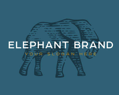 Logotype of the elephant. Vector illustration. Black and white vector objects.