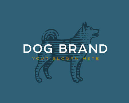 Logotype of the dog. Vector illustration. Black and white vector objects.