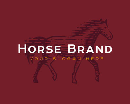 Logotype of the horse. Vector illustration. Black and white vector objects. Illustration
