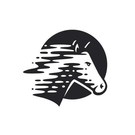 Logotype of the horse. Vector illustration. Black and white vector objects. Zdjęcie Seryjne - 136421605