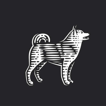 Illustration of the dog. Vector illustration. Black and white vector objects. Ilustracja