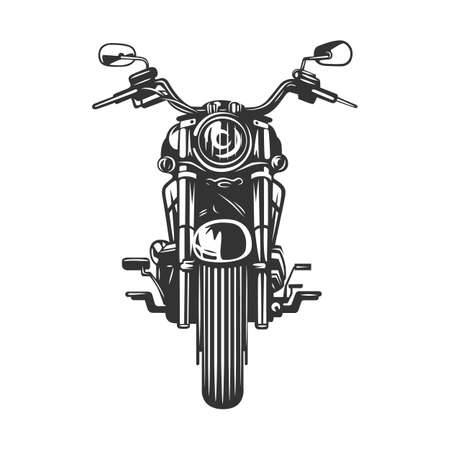 Chopper motorcycle front view isolated on white background. Black and white vector illustration. Vektorgrafik