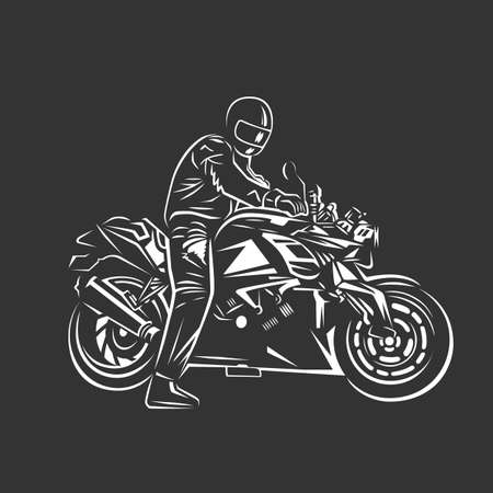 Biker club vintage label. Racing motorcycle illustration, design elements. Black and white vector illustration. Иллюстрация