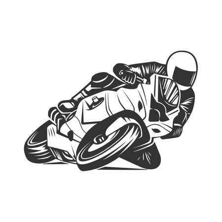 Racing motorcycle illustration, design elements. Black and white vector illustration.