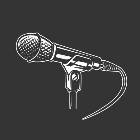 Microphone, vector icon isolated on black background. Microphone logo concept. Illustration