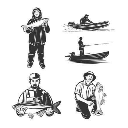 Monochrome illustration with a fisherman for design on a fishing theme. Vektorové ilustrace
