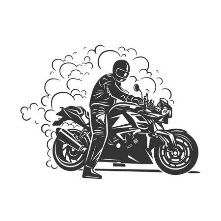 Biker club vintage label. Racing motorcycle illustration, design elements. Black and white vector illustration. Zdjęcie Seryjne - 160529541