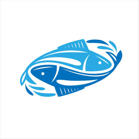 Fish logo. Fresh seafood logo template design. Colorful illustrations.