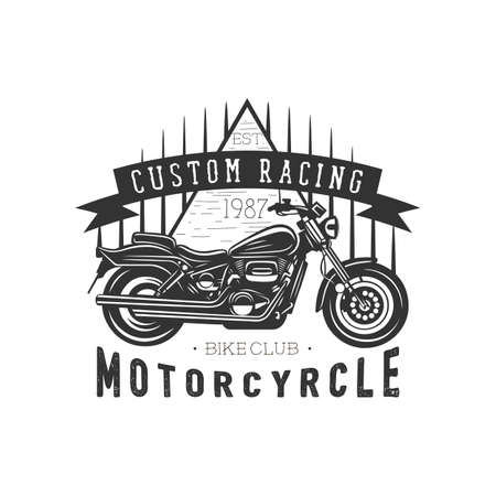Logo of motorcycle, vintage illustration. Racing motorcycle illustration, design elements. Black and white vector illustration. Zdjęcie Seryjne - 160529547
