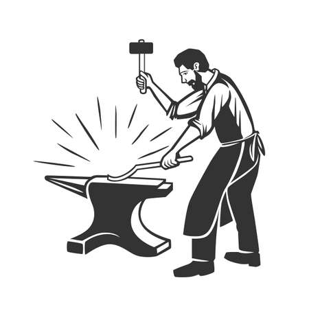 Blacksmith Logo Design. Modern Design. Vector illustration. Black and white vector object.