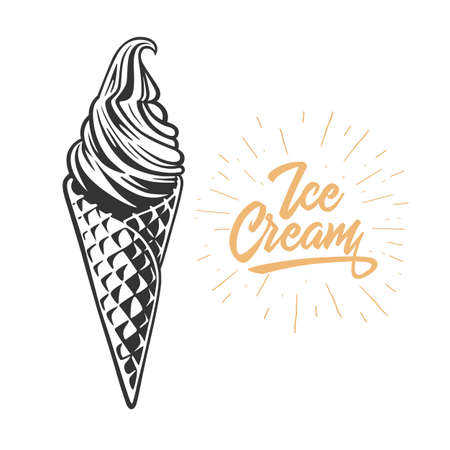 Ice cream in the waffle cone. Vector illustration. Black and white vector object. Ilustracja