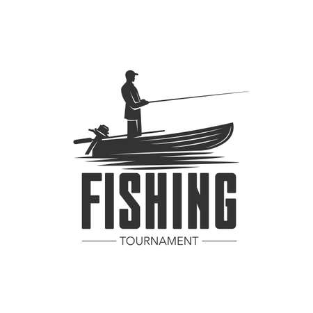 Monochrome illustration with a fishing logo for design on a fishing theme.