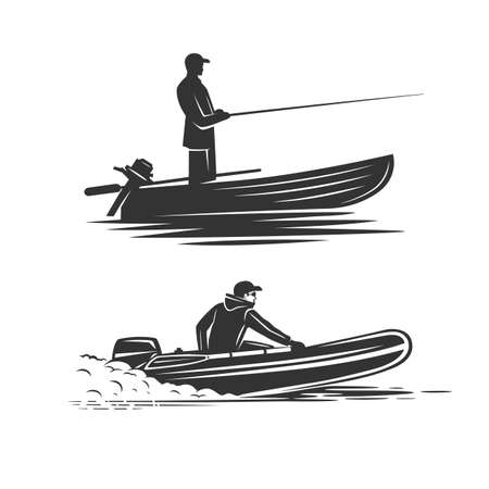 Monochrome illustration with a boat fisherman for design on a fishing theme. Zdjęcie Seryjne - 160529579