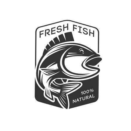 Monochrome illustration with a fish logo for design on a fishing theme.