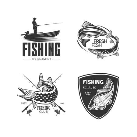 Monochrome illustration with a fish logos for design on a fishing theme.